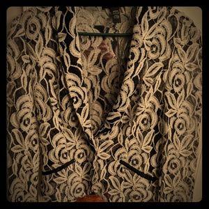 NWT! INC black and white lace blazer!